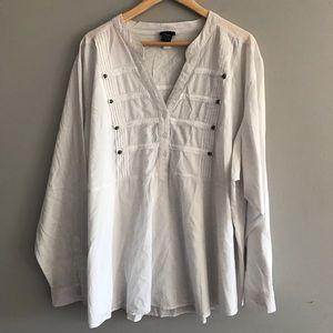 Torrid White Long Sleeved Dress Shirt